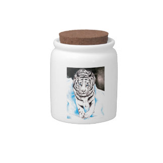 White Siberian Tiger Winter Candy Jar