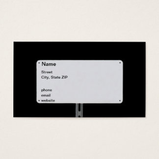 White Sign Black Business Card