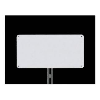 White Sign Black Postcard