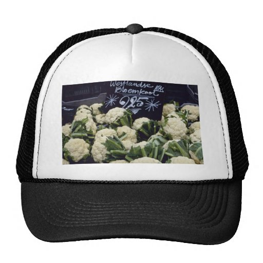 white Sign With Produce flowers Trucker Hat