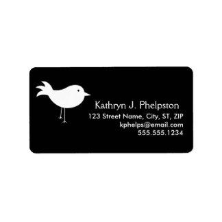 White Silhouette Bird Personalized Address Label