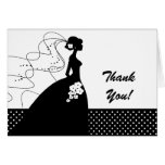 White Silhouette Bride Thank You Note Card