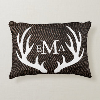 White Silhouette Buck Antlers on Brown Herringbone Accent Pillow