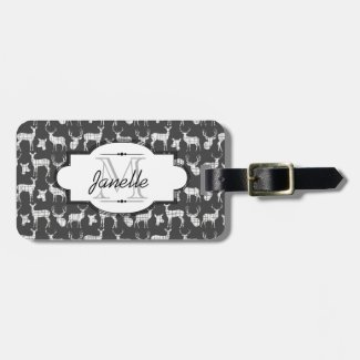 White Silhouette Deer on Gray Luggage Tag