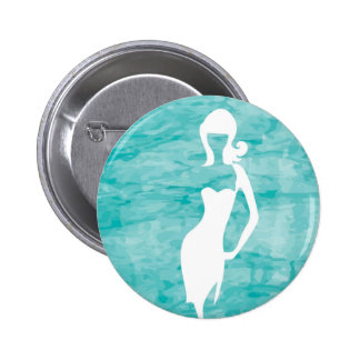 White silhouette of a young girl pinback button