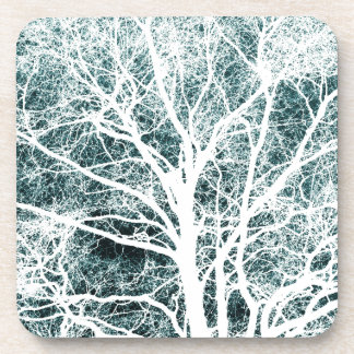 White silhouetted tree coasters