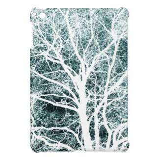 White silhouetted tree cover for the iPad mini