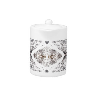 White silhouetted tree pattern teapot