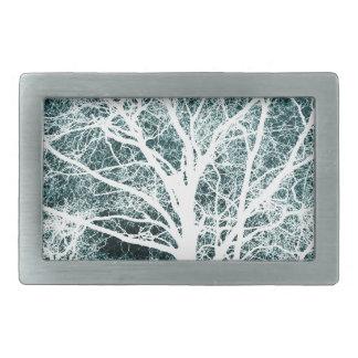 White silhouetted tree rectangular belt buckle