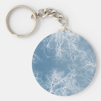 White silhouetted trees keychain
