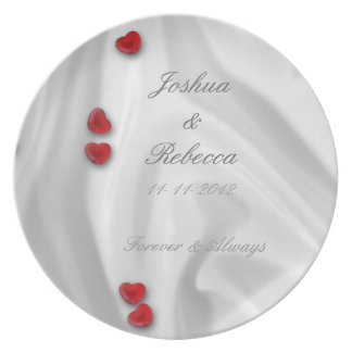 White Silk and Hearts Melamine Plate