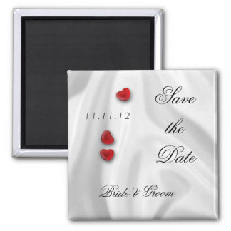 White Silk and Hearts Save the Date Magnet
