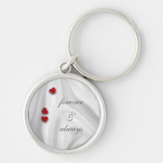 White Silk and Hearts Wedding Keychain