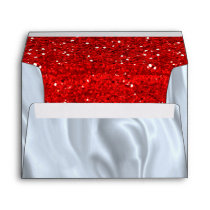 White Silk and Red Glitter Envelope