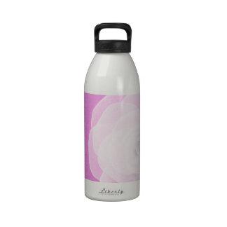 White silk rose on pink reusable water bottles