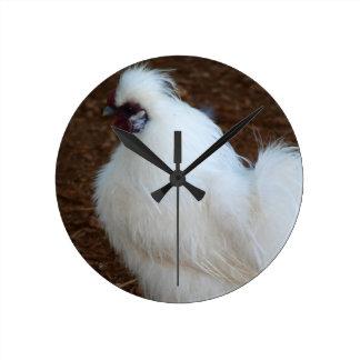 White Silkie Chicken Wall Clocks