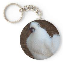White Silkie Chicken Keychain