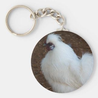 White Silkie Chicken Keychain