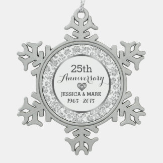 White & Silver 25th Wedding Anniversary Snowflake Pewter Christmas Ornament
