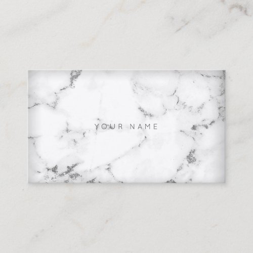 White Silver Abstract Gray Marble Vip Business Card