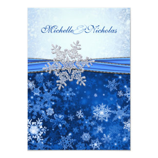 White, silver, blue snowflakes Wedding Card