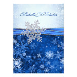 White, silver, blue snowflakes Wedding Custom Announcements