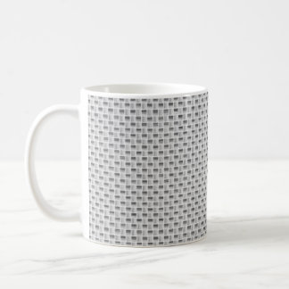 White Silver Carbon Fiber (Faux) Patterned Coffee Mug
