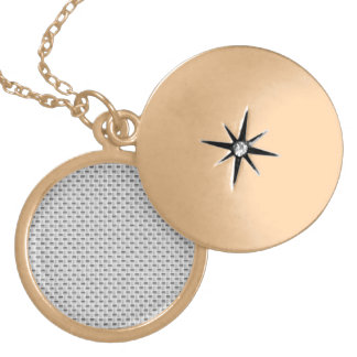 White Silver Carbon Fiber (Faux) Patterned Gold Plated Necklace