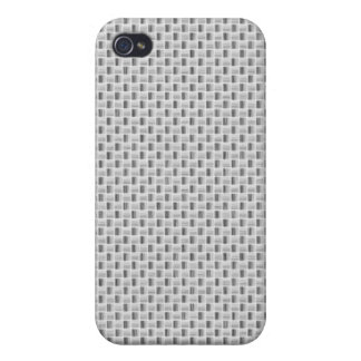 White Silver Carbon Fiber (Faux) Patterned Cases For iPhone 4