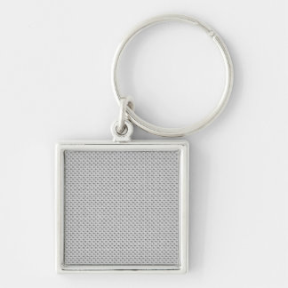 White Silver Carbon Fiber (Faux) Patterned Keychain