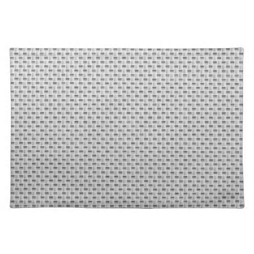 White Silver Carbon Fiber (Faux) Patterned Place Mats