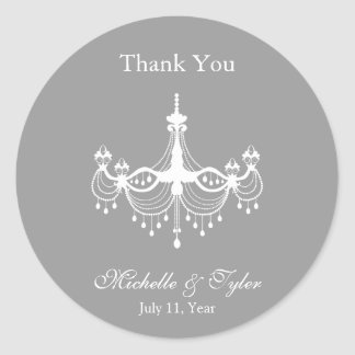 White & Silver Chandelier Favour Stickers