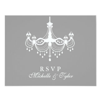 White & Silver Chandelier RSVP Card Personalized Invites