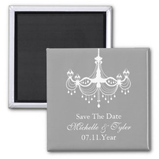White & Silver Chandelier Save The Date Magnet