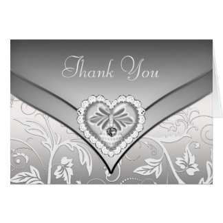 White Silver Diamond Heart Thank You Cards Greeting Card