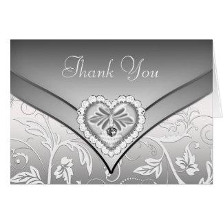 White Silver Diamond Heart Thank You Cards