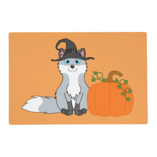 White & Silver Fox with Halloween Pumpkin Laminated Placemat