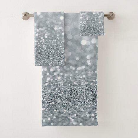 White Silver Glitter Bokeh Glam Trendy Sparkle Bath Towel Set
