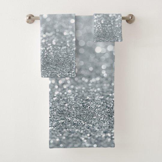 White Silver Glitter Bokeh Glam Trendy Sparkle Bath Towel
