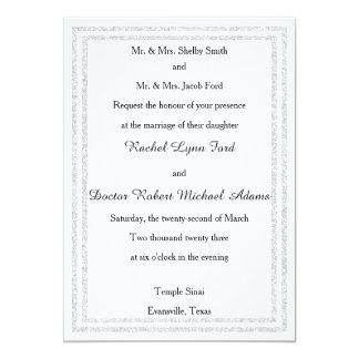 White Silver Glittered Trim -5x7Wedding Invitation