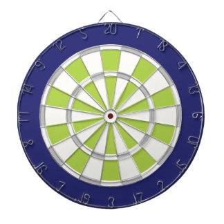 White, Silver, Lime, And Navy Dartboard With Darts