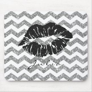 White Silver  Lips Chevron Glitter Zig Zag Black Mouse Pad