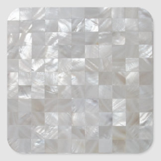 White Silver Mother Of Pearl Tiled Square Sticker