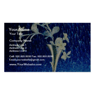 white Silver rain flowers Double-Sided Standard Business Cards (Pack Of 100)
