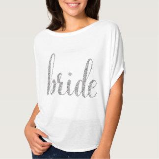 White & silver sparkle bride shirt