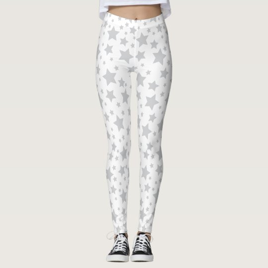 ff1258dec547e White Silver Stars Leggings | Zazzle.com