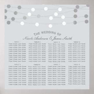 White Silver String Lights Modern Wedding Seating Poster