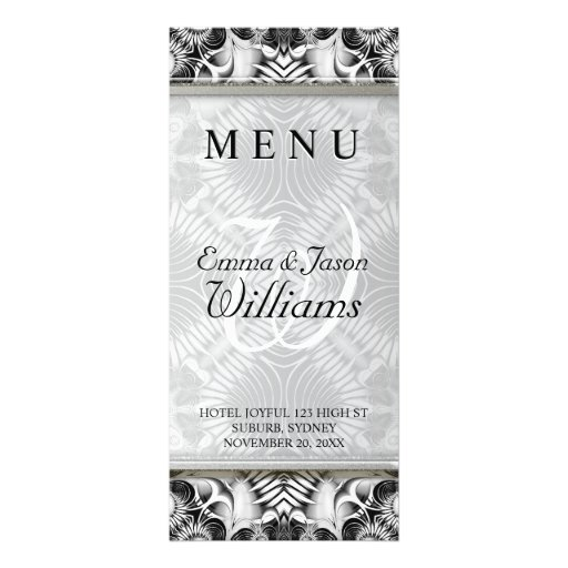 White Silver Tribal Geometric Pattern Wedding Menu