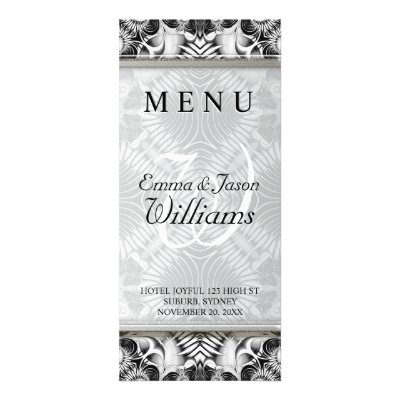 White Silver Tribal Geometric Pattern Wedding Menu Customized Rack Card