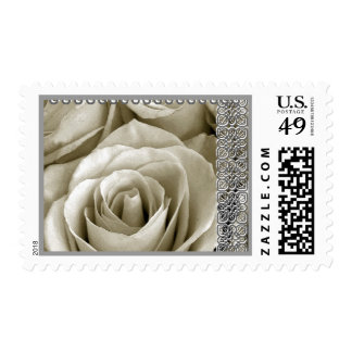 WHITE & SILVER Wedding Rose with Lace Accent Stamps